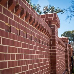 Ornate Red Brick Wall using old red sandstock bricks