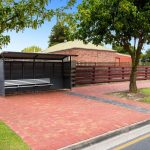 Old Red Pavers At Bus Stop Located In Adelaide South Australia