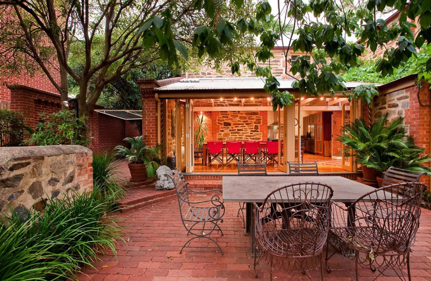 Old Red Pavers In Outdoor Entertaining Area Of Heritage Home