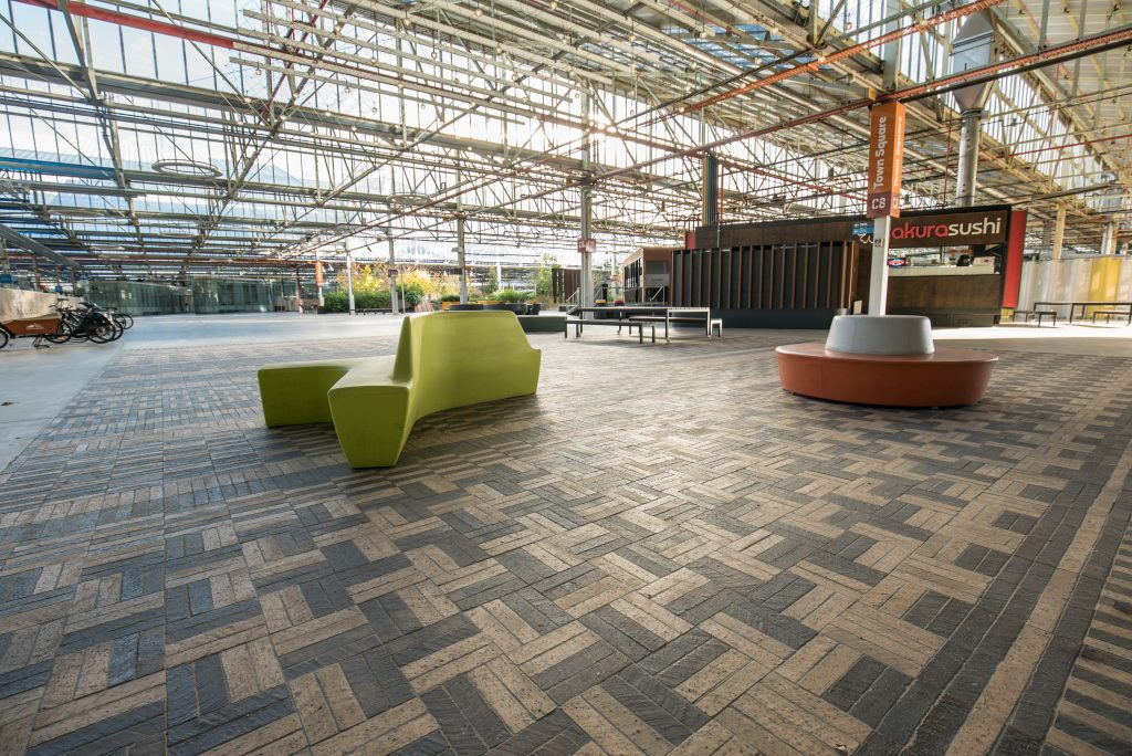 Tuscan And Mahogany Pavers In Intricate Pattern At Tonsley Tech Hub 3