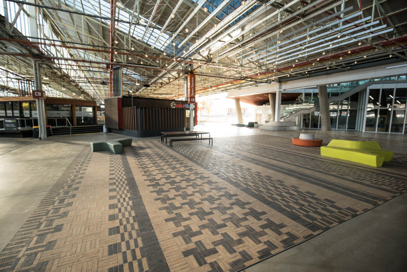 Tuscan And Mahogany Pavers In Intricate Pattern At Tonsley Tech Hub