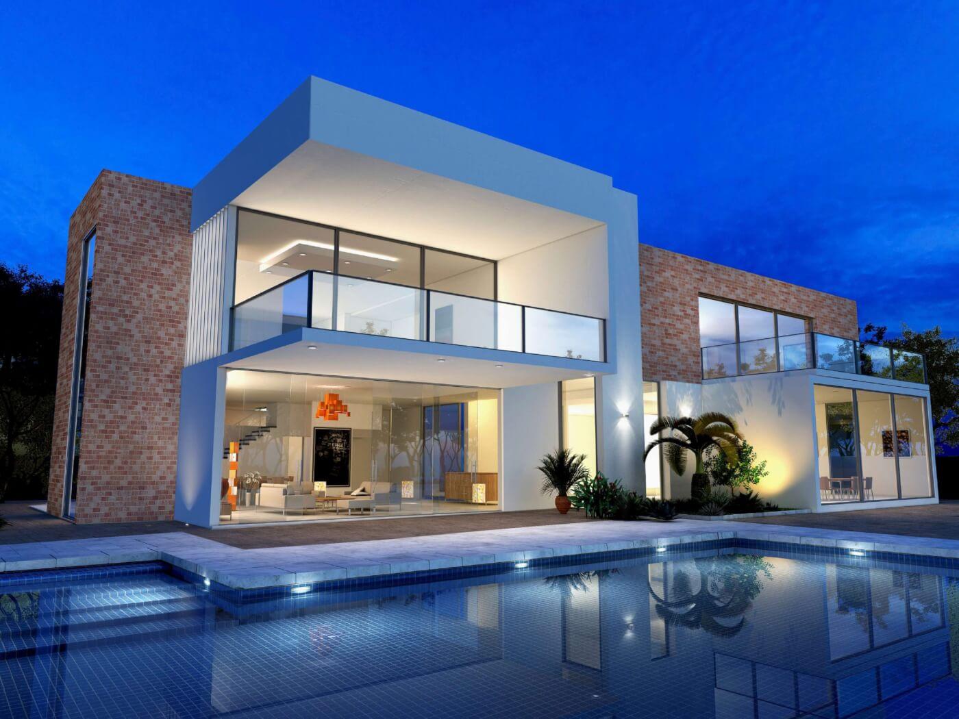 Blush Brick Modern Mansion with pool
